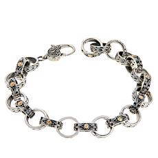 Bali Designs Sterling Silver and 18K Textured Oval Link Bracelet