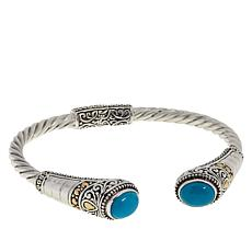 Bali Designs Sterling Silver and 18K Turquoise Cable Cuff