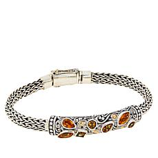 Bali Designs Sterling Silver Gemstone Tulang Naga Scroll Bracelet