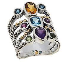 Bali Designs Sterling Silver Multi-Gemstone Beaded Multi-Row Ring