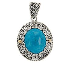 Bali Designs Sterling Silver Oval Turquoise Scrollwork Pendant