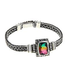 "Bali Designs Watermelon Quartz Triplet Sterling Silver 7-1/2"" Bracelet"