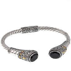 Bali RoManse 5.78ctw Black Spinel 2-Tone Cable-Twist Bracelet