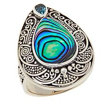 Bali RoManse Abalone and Blue Topaz Pear Scrollwork Ring