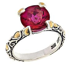 Bali RoManse Azotic Pink Quartz Solitaire Sterling Silver and 18K Ring