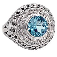 Bali RoManse Blue Topaz and White Topaz Scrollwork Ring