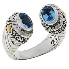 Bali RoManse Oval Gemstone Cable Cuff Ring