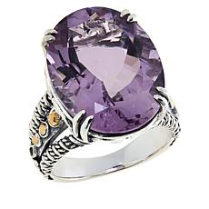 Bali RoManse Sterling Silver 15x20 Gemstone Solitaire Ring