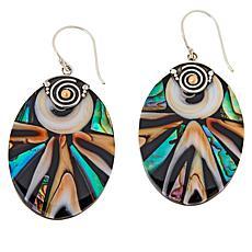 Bali RoManse Sterling Silver Abalone Oval Mosaic Drop Earrings