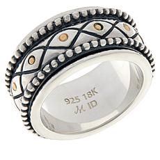 Bali RoManse Sterling Silver and 18K Beaded Spinner Ring