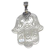 Bali RoManse Sterling Silver and 18K Carved Shell Hamsa Pendant