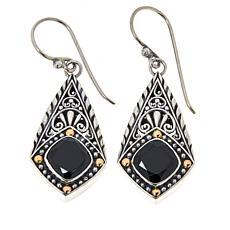 Bali RoManse Sterling Silver and 18K Cushion Gemstone Drop Earrings