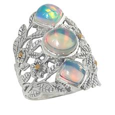 Bali RoManse Sterling Silver and 18K Ethiopian Opal 3-Stone Ring