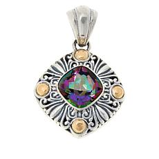 Bali RoManse Sterling Silver and 18K Gem Scrollwork Pendant