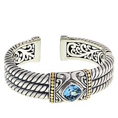 Bali RoManse Sterling Silver and 18K Gemstone Cable Cuff