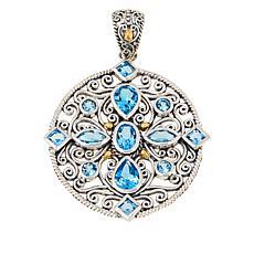 Bali RoManse Sterling Silver and 18K Gemstone Medallion Pendant