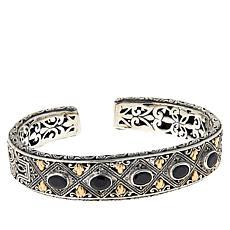 Bali RoManse Sterling Silver and 18K Gemstone Scrollwork Cuff