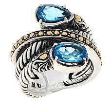 Bali RoManse Sterling Silver and 18K Gemstone Wrap Ring