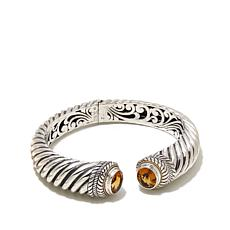Bali RoManse Sterling Silver and 18K Gold Citrine Cable Cuff