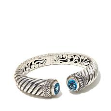 Bali RoManse Sterling Silver and 18K Gold Swiss Blue Topaz Cable Cuff