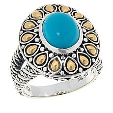 Bali RoManse Sterling Silver and 18K Gold Turquoise Scrollwork Ring
