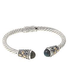 Bali RoManse Sterling Silver and 18K Labradorite Twisted Rope Cuff