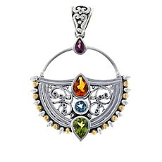 Bali RoManse Sterling Silver and 18K Multi-Gemstone Scroll Pendant