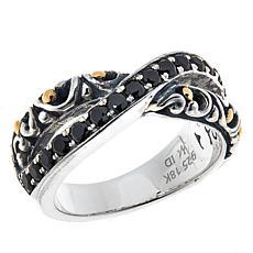 Bali RoManse Sterling Silver and 18K Pavé Gemstone Crossover Ring