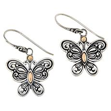 Bali RoManse Sterling Silver and 18K Scrollwork Butterfly Earrings