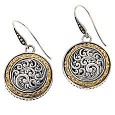 Bali RoManse Sterling Silver and 18K Scrollwork Medallion Earrings