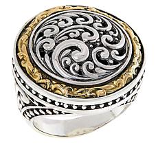 Bali RoManse Sterling Silver and 18K Scrollwork Medallion Ring
