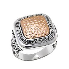 Bali RoManse Sterling Silver and 18K Signet-Style Ring