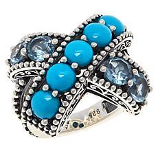 Bali RoManse Sterling Silver Multi-Gemstone Crossover Ring
