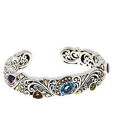 Bali RoManse Sterling Silver Multigemstone Hinged Cuff Bracelet