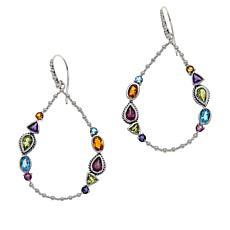 Bali RoManse Sterling Silver Multigemstone Open Teardrop Earrings
