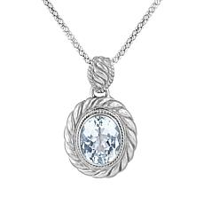 "Bali RoManse Sterling Silver White Topaz Cable Pendant with 18"" Chain"
