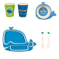 Bamboozle Tiny Footprint 5-piece Wally Whale Children's Dinnerware Set