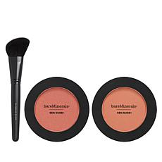 bareMinerals® Gen Nude™ Peach Powder Blush Duo with Brush