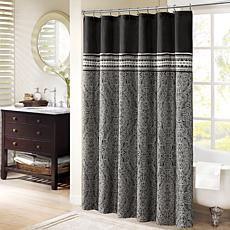"Barton Jacquard Shower Curtain - Black/72"" x 72"""