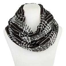 Basha Woven Eyelash Plaid Eternity Scarf