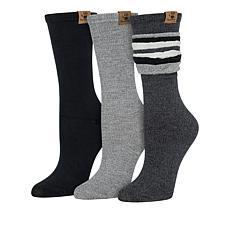 BEARPAW® 3-Pair Pack Crew Soft Rayon Blend Crew Socks