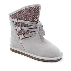 BEARPAW® Colby Suede and Knit Laced Boot with NeverWet™