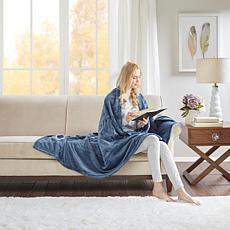 Beautyrest Heated Plush Knitted Microlight Oversized Throw - Sapphire