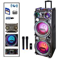 """beFree 10"""" Portable Bluetooth Double Speaker System w/Lights & 2 Mics"""