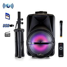 """beFree Sound 12"""" Bluetooth Portable Party Speaker w/Stand & Lights"""