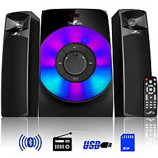 beFree Sound 2.1ch Bluetooth Wired Speaker System w/ Reactive LEDs