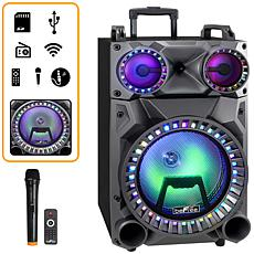 """beFree Sound Rechargeable 12"""" Bluetooth Portable Party Speaker w/LEDs"""