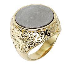 Bellezza 100 Lira Mini Coin Bronze Scrollwork Ring