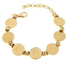 "Bellezza 50 Lira Coin Bronze 7-1/2"" Station Bracelet"