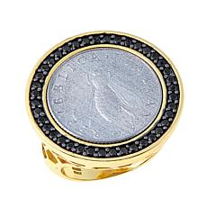 Bellezza Bee Lira Coin .40ctw Black Spinel Bronze Ring